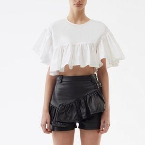 3.1 Phillip Lim Leather Ruffle Buckle Short NWT